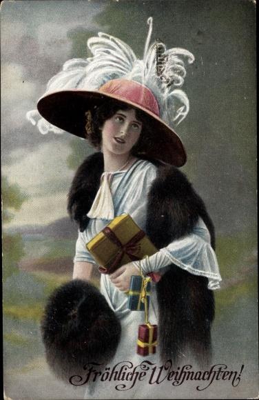 Geschenke Weihnachten Frau.Ansichtskarte Postkarte Frohe Weihnachten Frau Hut Akpool De