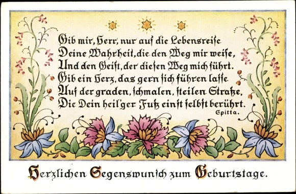 Gedicht Postcard Glückwunsch Geburtstag Gib Mir Herr