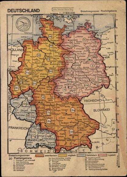 Landkarten Postcard Deutschland Besatzungszonen Akpool Co Uk