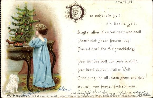 Tannenbaum Gedicht.Postcard Frohe Weihnachten Kind Betet Am Tannenbaum Akpool Co Uk