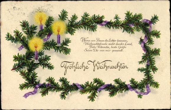 Ansichtskarte Postkarte Frohe Weihnachten Tannenzweig