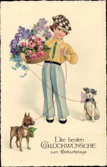 Ansichtskarte Postkarte Gluckwunsch Geburtstag Hunde Akpool De