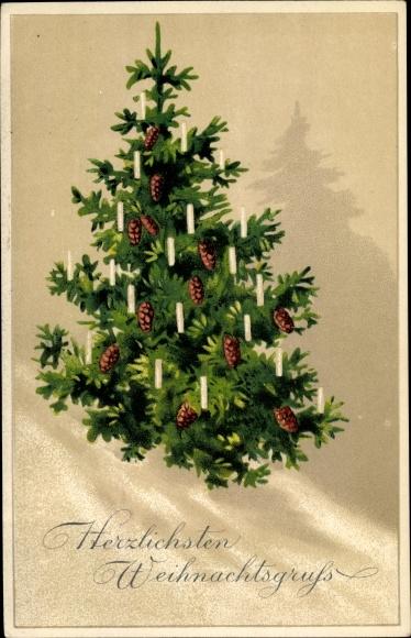 Wieso Tannenbaum Weihnachten.Postcard Frohe Weihnachten Tannenbaum Tannenzapfen Akpool Co Uk