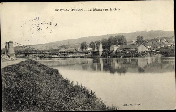 Postcard Port A Binson Marne La Marne Vers La Gare Akpoolcouk