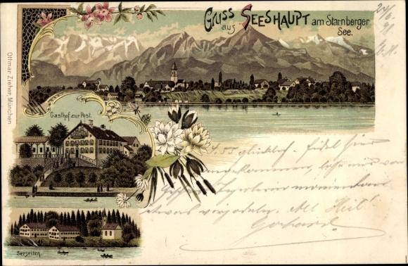 Litho Seeshaupt Starnberger See Gasthof Zur Post Akpoolde
