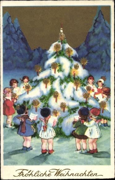Tannenbaum Singen.Ansichtskarte Postkarte Frohe Weihnachten Engel Singen Akpool De