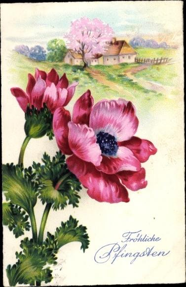 Postcard Glückwunsch Pfingsten Landschaftsansicht Akpool