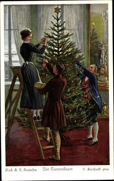 Märchen Von Hans Christian Andersen Der Tannenbaum.Artist Postcard Herrfurth Oskar Der Tannenbaum Akpool Co Uk