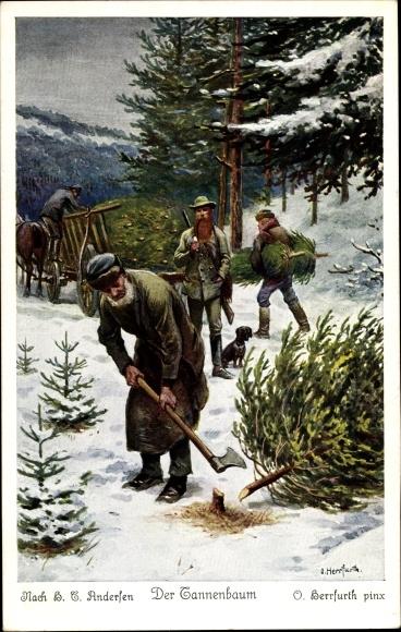 Andersen Der Tannenbaum.Artist Postcard Herrfurth Oskar Der Tannenbaum Akpool Co Uk