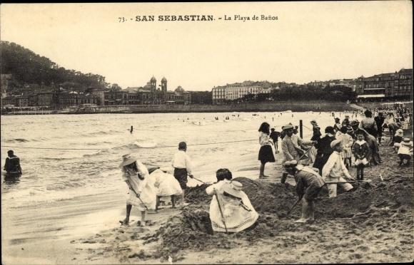 Banos San Sebastian.Postcard San Sebastian Baskenland La Playa De Banos