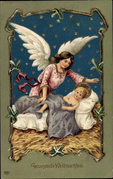Christkind Bilder Weihnachten.Embossed Postcard Frohe Weihnachten Engel Christkind Akpool Co Uk