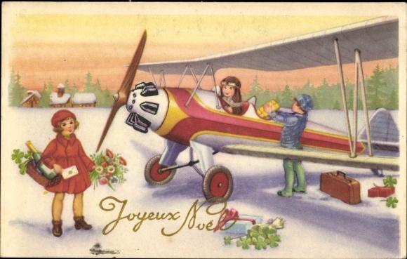 Frohe Weihnachten Flugzeug.Ansichtskarte Postkarte Frohe Weihnachten Flugzeug Wird
