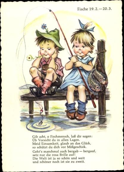 Artist Postcard Hanitzsch Sternzeichen Fische Pisces