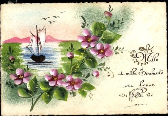 Handgemalt Postcard Glückwunsch Geburtstag Blumen Akpool