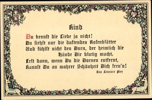 Postcard Gedicht Kind Du Kennst Die Liebe Ja Nicht