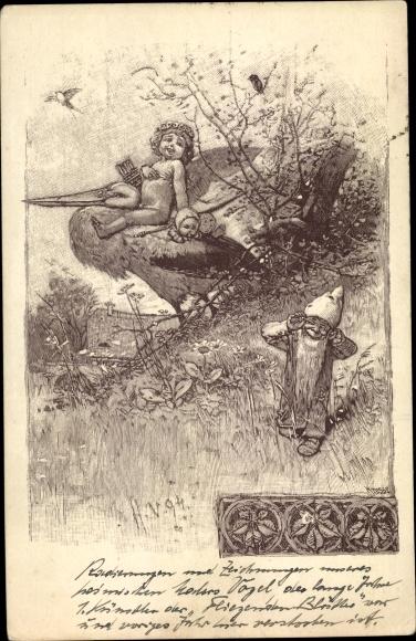 Christbaumkugeln Polen.Artist Postcard Vogel Hermann Amor Mit Pfeil Zwerg Wiese