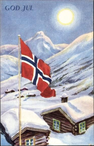 Frohe Weihnachten Norwegisch.Künstler Ansichtskarte Postkarte Frohe Weihnachten God Akpool De