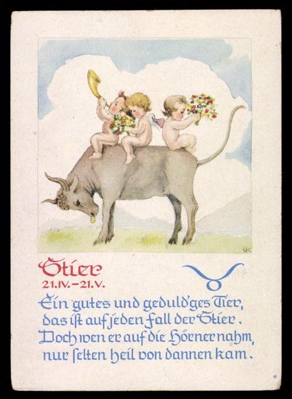 ansichtskarte postkarte sternzeichen stier gedicht engel reiten auf stier. Black Bedroom Furniture Sets. Home Design Ideas