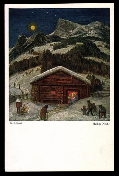 Künstler Ak Schiestl M., Heilige Nacht, Stall, Menschen