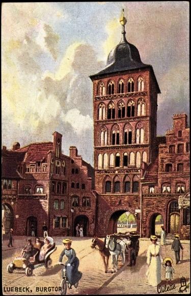 Kuenstler-Ak-Luebeck-Blick-aufs-Burgtor-Tucks-Nr-175-B