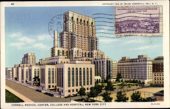 Carte Postale New York.Carte Postale New York City Usa Cornell Medical Center College Hospital