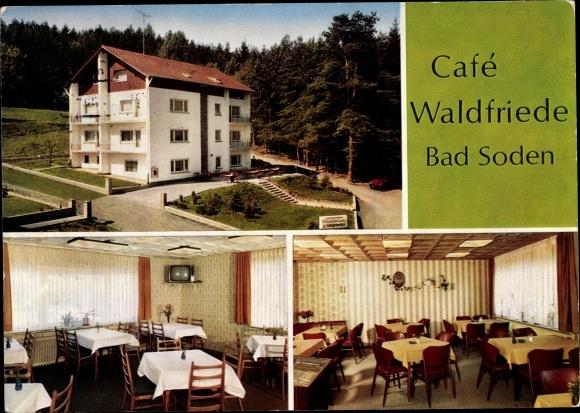 Postcard Bad Soden Am Taunus Hessen Cafe Hotel Pension Waldfriede