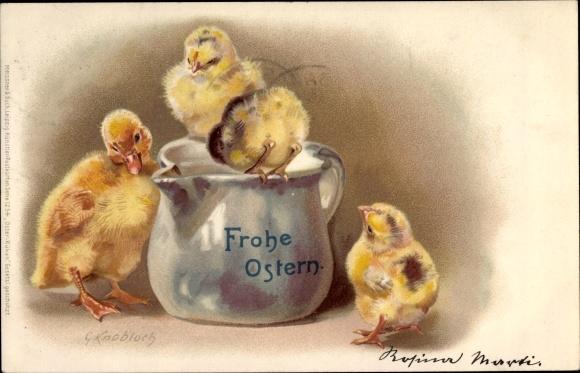 niedliches Entenküken mit Eierschale Frohe Ostern duckling Ansichtskarte