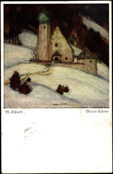 Künstler Ak Schiestl M., Maria Schnee, Kirche, Wald