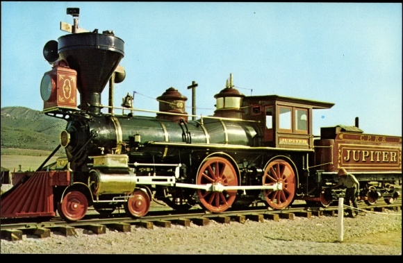 Postcard Eisenbahn USA, Jupiter, transcontinental railroad | akpool.