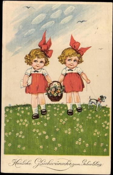 Postcard Gluckwunsch Geburtstag Zwillinge Mit Akpool Co Uk