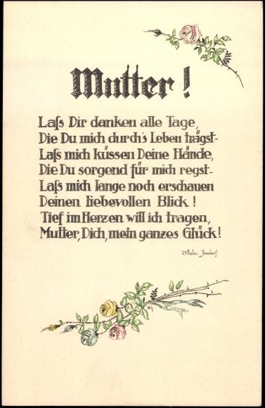 ansichtskarte  postkarte glückwunsch muttertag gedicht