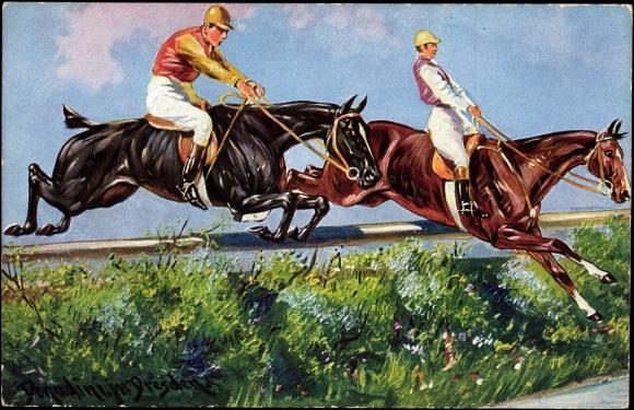 k nstler ansichtskarte postkarte donadini pferde springen ber hindernis. Black Bedroom Furniture Sets. Home Design Ideas