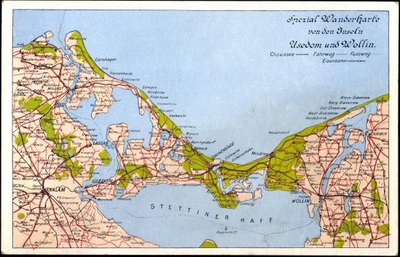 Postcard Usedom Landkarte Der Ostseekuste Stettiner Akpool Co Uk