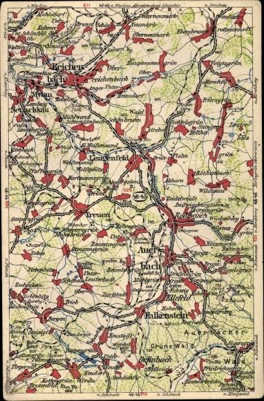 Landkarten Ansichtskarte Postkarte Auerbach Im Vogtland Akpool De