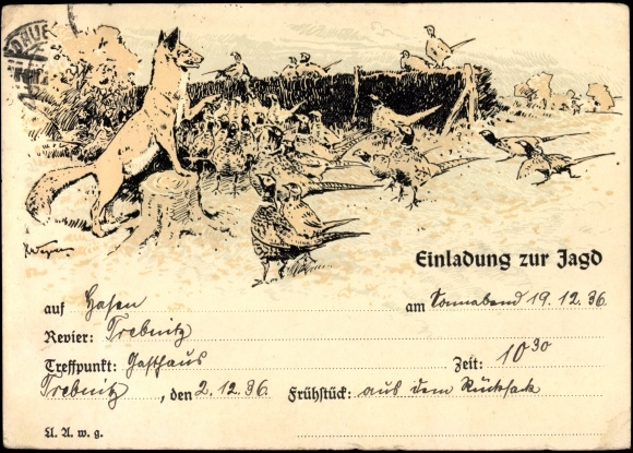 artist postcard einladung zur jagd, fuchs mit fasanen | akpool.co.uk, Einladung