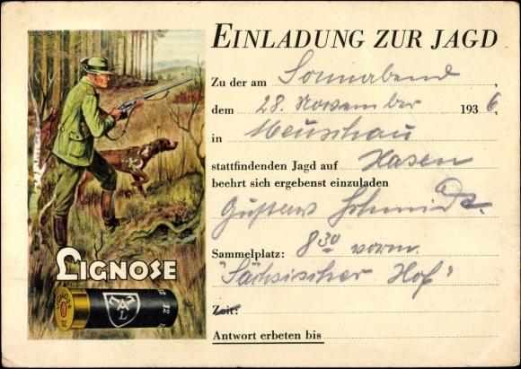 postcard einladung zur jagd, jäger mit jagdhund, | akpool.co.uk, Einladung