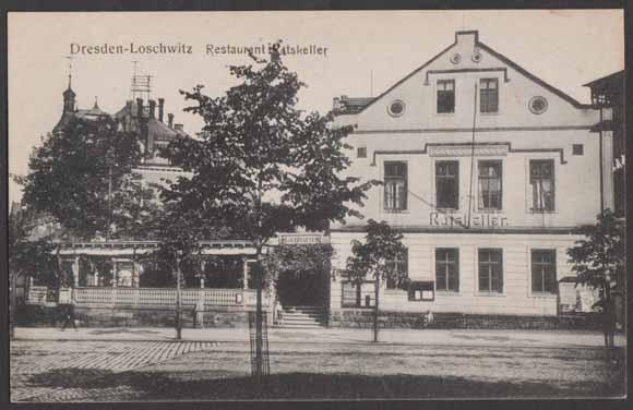 ansichtskarte postkarte dresden loschwitz restaurant ratskeller mit garten. Black Bedroom Furniture Sets. Home Design Ideas