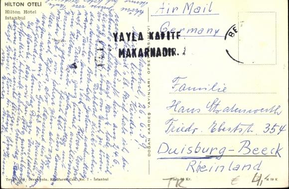 Backside Postcard Istanbul Türkei, Partie am Hilton Hotel