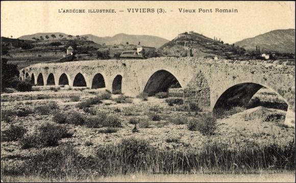 Viviers- Le vieux pont romain- Carte postale ancienne
