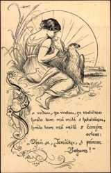 Künstler Ak Ales M., Frau mit Adler in der Sonne