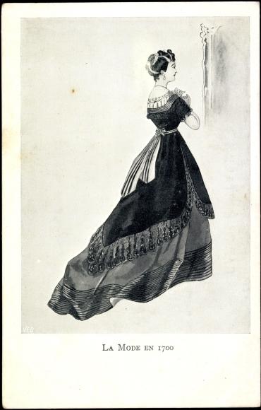 Künstler Ansichtskarte / Postkarte La Mode en 1700, Frau | akpool.de