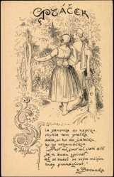 Künstler Ak Kresba Mikulase Alese, Mann, Frau, Wald