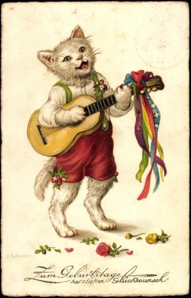 Artist Chromo Litho Gluckwunsch Geburtstag Katze In Akpool Co Uk