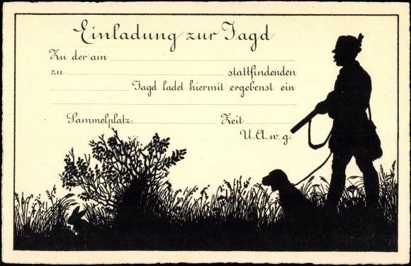 artist postcard einladung zur jagd, jäger mit hund, | akpool.co.uk, Einladung
