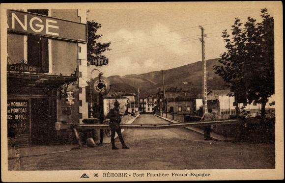 Carte postale Béhobie Rhône, Pont Frontière France Espagne