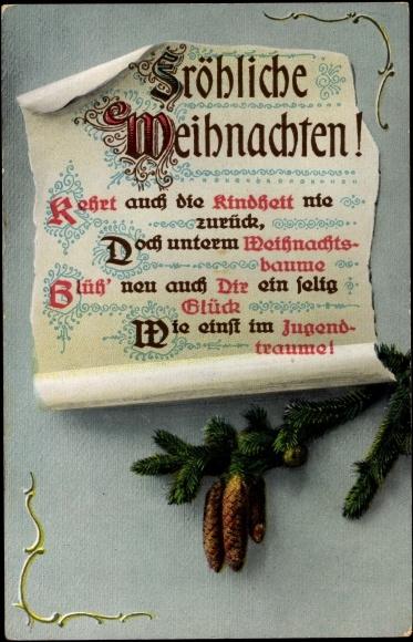 ansichtskarte postkarte fr hliche weihnachten gedicht. Black Bedroom Furniture Sets. Home Design Ideas