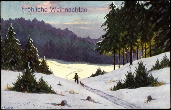 Frohe Weihnachten Jager.Artist Postcard Mailick Frohe Weihnachten Jager Im Akpool Co Uk