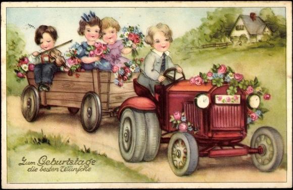 Postcard Geburtstag Gluckwunsch Traktor Blumen Akpool Co Uk