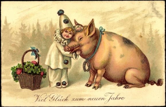 Ansichtskarte Postkarte Glückwunsch Neujahr Schwein Akpoolde