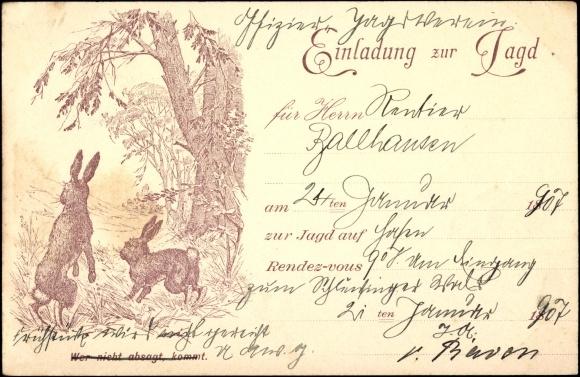künstler ansichtskarte / postkarte einladung zur jagd in | akpool.de, Einladung